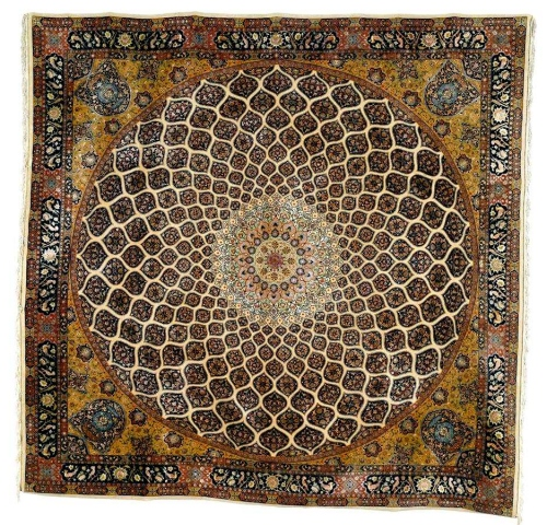 Part_Silk_Tabriz_Carpet_Mosque_Dome_Design_mid_20th_C_Lot_129